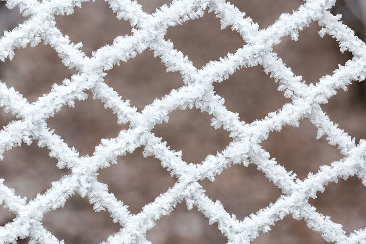 Full frame shot of frosted fence during winter