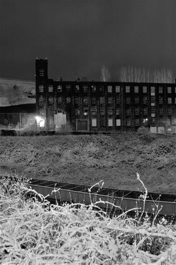 Fothergill and Harvey's Rocknook Mill in the snow by night,,, Dark Dark Satanic Mills EyEmNewHere Industrial Photography Industrial Revolution Night Photography Rochdale Snow ❄ Winter Architecture Blackandwhite Cotton Mill Eyembestshots Factory Industry Monochrome Night Rochdale Canal Sinister Snow Weaving Shed