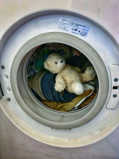 Washing Time Washing Machine Teddy Bears No People Shape Day Close-up Circle High Angle View Geometric Shape
