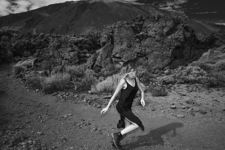 Run run Run run Run run Run away From your Responsibilities Tenerife Teide National Park Volcano Black And White Rocks Mountains Road Black Dress Running Girl Long Legs Blonde Girl Autumn Linas Was Here