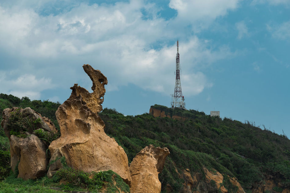 Architecture Built Structure Cliff Cloud - Sky Forest Forest Photography Landscape Low Angle View Nature No People Ous Outdoors Radio Tower Rock - Object Rock Formation Sky Yehliu Geopark