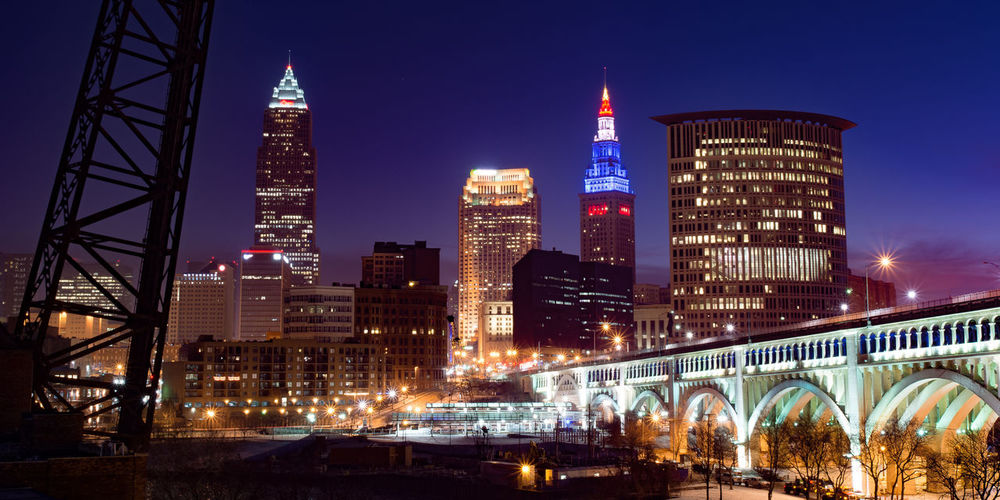 Blue Hour Cleveland Arch Arch Bridge Architecture Blue Bridge Bridge - Man Made Structure Building Built Structure City Cityscape Cleveland Ohio Illuminated Landscape Night No People Office Building Exterior Outdoors Purple Skyscraper Tall - High Tower Travel Destinations Urban Skyline