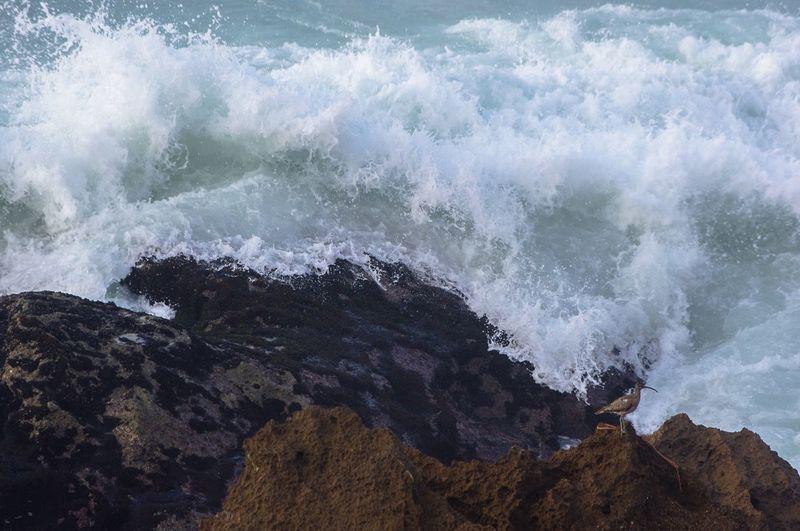 View of waves breaking on rocks