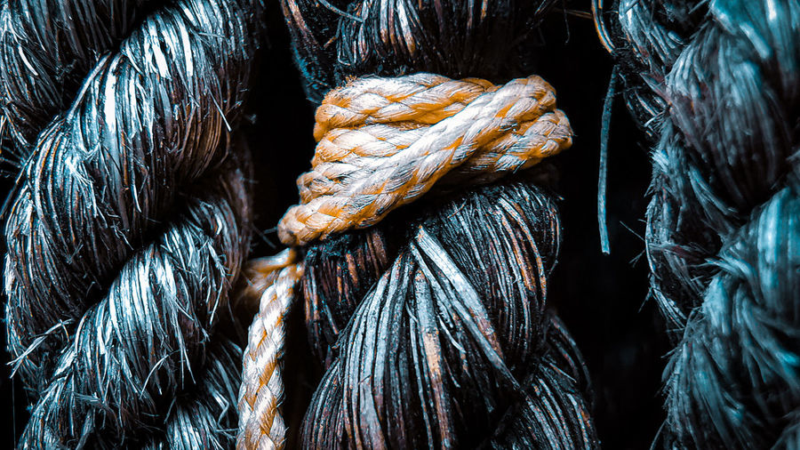 Full frame shot of tied up rope