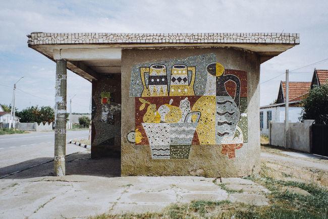 Butor village, Transnistria Visualanthropology Moldova Transnistria Folks Ussr Soviet Era Sovietmosaic Mosaic Sovietart Anthropology Sovietarchitecture Bus Stop