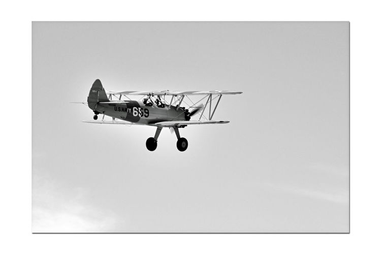 Hayward Executive Airport _ Open House 10 Hayward, Ca. Boeing -Stearman Model 75 N2S-4 Kaydet U.S. Navy WWII Biplane Introduced 1936 Primary Trainer Army & Navy Military Aircraft Aeronautical History Antique Postwar Years Used As Crop Duster Sports Planes Aviation _Collection AirPlane ✈ In Flight Monochrome Photography Monochrome Black & White Black & White Photography Black And White Black And White Collection  High-key Photography
