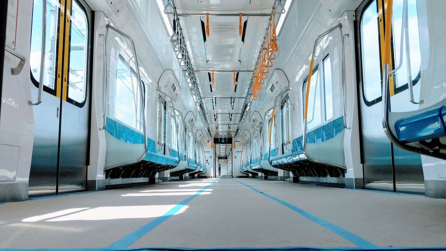 Empty corridor in city