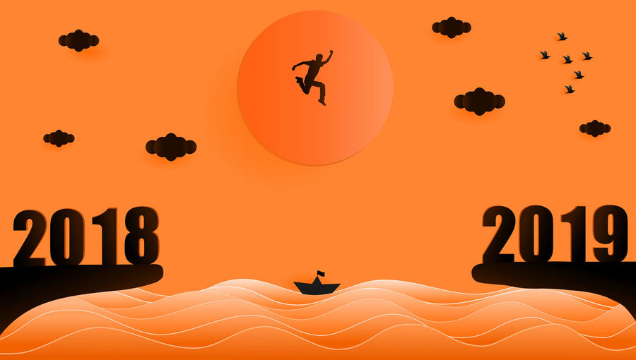 Illustration graphic design silhouette of young man jumping from year 2018 to year 2019 over sunset at the sea, paper art style concept for 2019 new year. 2016 2019 New Year Illustration Design Grahpic Sunset Sunrise Silhouette Blackandwhite Jumping People Success Destination Target Activity Black Orange Color Twilight Evening Sky Flying Concept Sun Sea