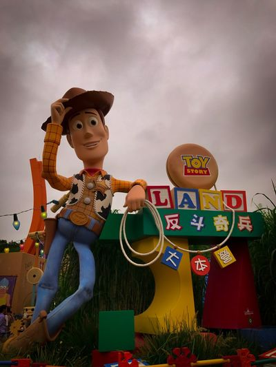 Toy Story!! HongKong Disneyland Toystory Human Representation Text Childhood Real People Sky Day Outdoors