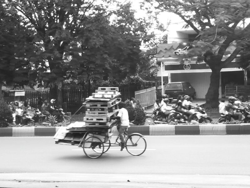 Showcase April Taking Photos Becak Culture Travel Photography Traditional Transportation Black And White