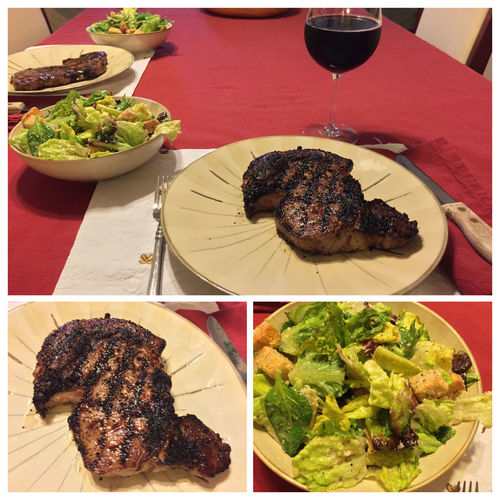 Tonight I grilled ribeye steaks, served with a salad and my homemade 2013 Italian Amarone wine. ICanCookMyAssOff ItsAnItalianThing Nomnombomb MyFoodPics Food Porn Awards Food Porn Grilling HomemadeItalianWine Steaks