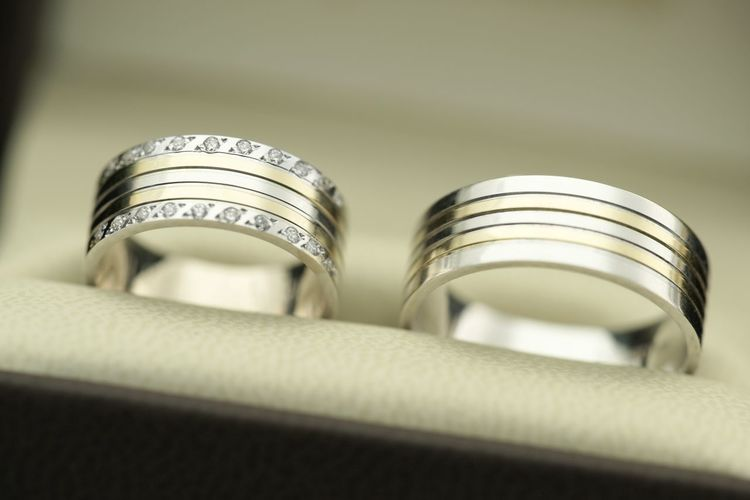 Close-up of wedding rings in box