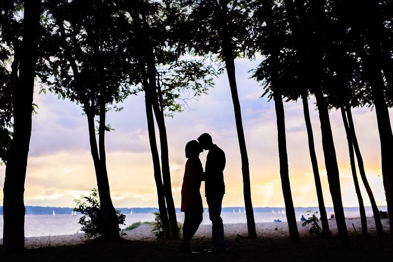 Silhouette couple kissing amidst trees at beach during sunset