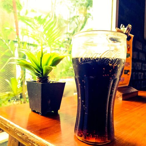 Drink Drinking Glass Refreshment Table Freshness Leaf Indoors  No People Food And Drink Green Color Close-up Day Coca Cola First Eyeem Photo