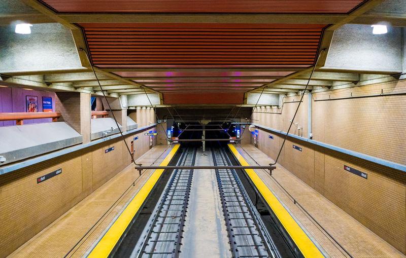 BART After Hours - color Architecture Diminishing Perspective Illuminated Indoors  Light Public Transportation Rail Transportation Subway Track Transportation