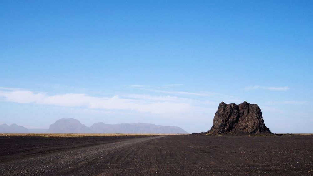 Landscape Tranquility Nature No People Sky Day Blue Outdoors Beauty In Nature Road Scenics Arid Climate Iceland Desolate Empty Copy Space Alone