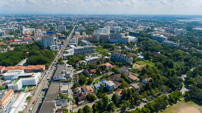 Aerial Photography Aerial View Architecture Asian Culture Building Exterior Business Finance And Industry Chiangmai City City Life Cityscape Cityscape Cultures Day Drone Photography Dronephotography High Angle View Landscape No People Outdoors Road Roof Sky And Clouds Thailand Travel Destinations Urban Skyline