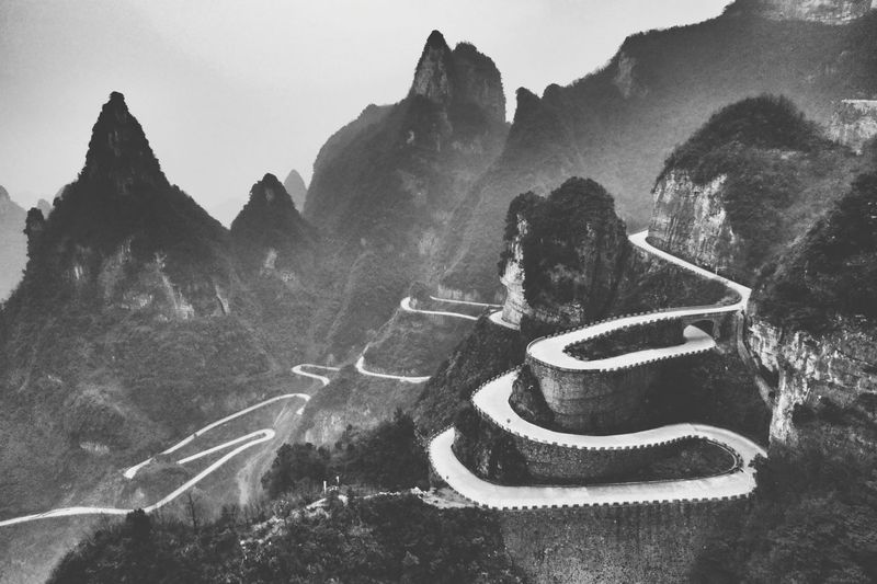 Black And White Mountains China Landscape