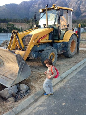 Boy Child Construction Equipment Construction Industry Construction Machinery Digger Earth Mover Front Loader Land Vehicle One Person Real People Toddler  Transportation Yellow Equipment