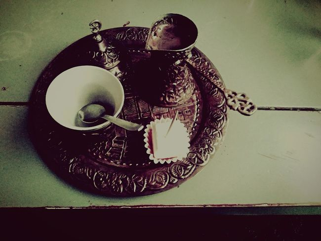 first eyeem photo Coffee Coffee Cup Coffee - Drink Coffee Break Sweets Copper Art Vintage Dishes Fildzan Kahva Vintage Chill ćeif Milina Turskakafa Rahat Ratluk Rahatlokum Original Indoors  People Table Food And Drink Plate Close-up Day No People