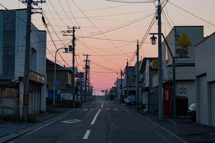 Outdoors No People Sky Day Sunset Small Town Power Lines Against Sky Rishiri Island Hokkaido Japan