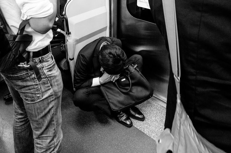 B&w Street Photography Street Streetphotography Blackandwhite Black And White Street Photography Monochrome Eye4photography  Eye4black&white  People Subway Notes From The Underground Public Transportation Sleeping Streetphoto_bw Streetphotography_bw Street Life Tokyo Street Photography