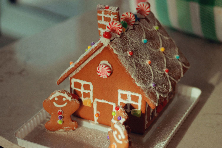 Xmas House, 2018 Holiday Moments Celebration Christmas Decoration Holiday Indoors  Still Life Close-up Art And Craft Creativity Sweet Food No People Table Food Food And Drink Gingerbread Cookie Baked Indulgence High Angle View Sweet Icing Christmas Ornament Temptation Gingerbread House Christmas
