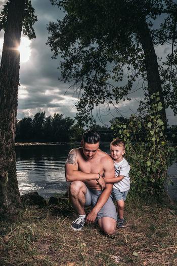 Fujifilm Fujifilm_xseries Xpro2 The Week on EyeEm Love Slovakia🇸🇰 Tree Water Full Length Child Bonding Togetherness Childhood Sitting Boys Happiness Babyhood Single Parent