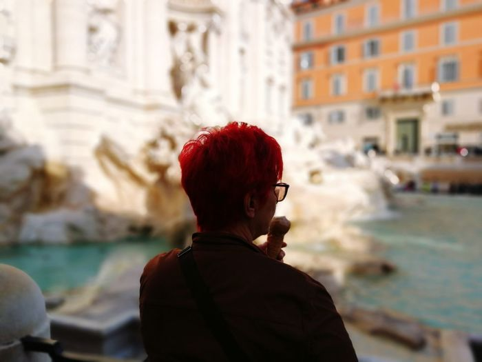 Rear view of man standing at trevi fountain