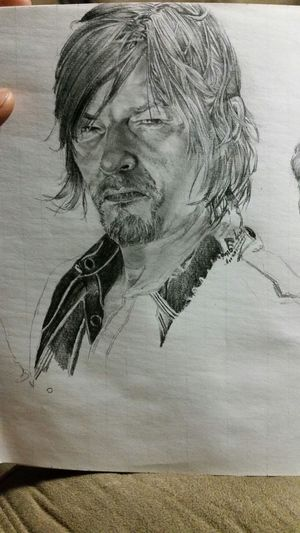 The Walking Dead I luv the unfinished look of this one Pencil Sketch  Pencil Drawing Daryl Dixon Art Drawing Sketch Portrait