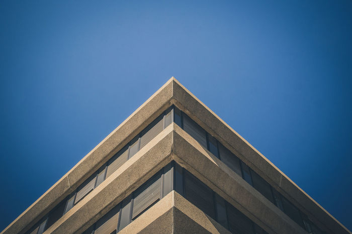 Triangle Shape Blue Low Angle View Built Structure Architecture Sky Day Clear Sky EyeEmBestPics EyeEm Gallery Fine Art Photography EyeEm Best Shots Colours And Patterns Eyeemphotography Close-up Graphic Building Feature Minimalism Minimal Architecture Wall - Building Feature