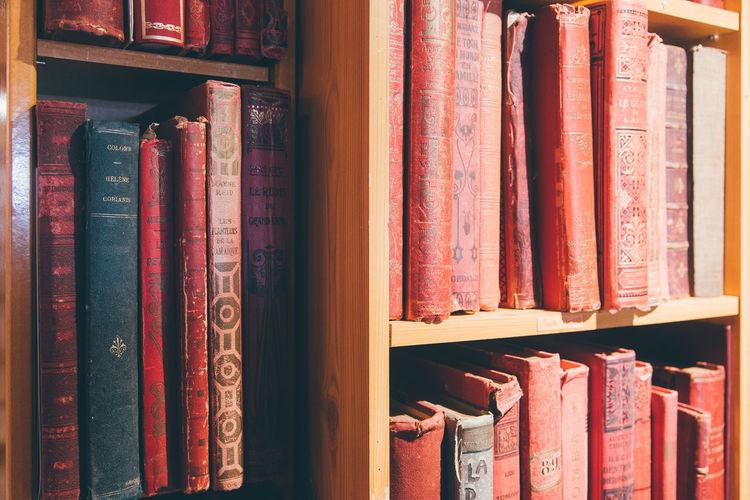 Close-up of books in shelf