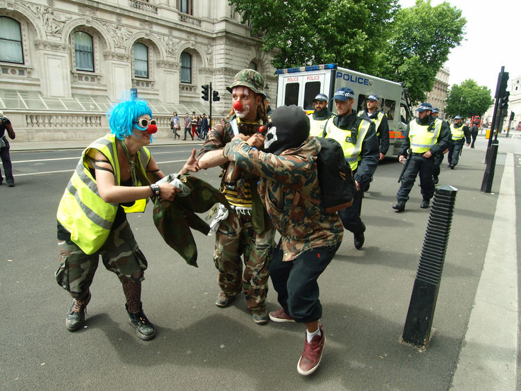 Clowns and Police Officers at the Homes for All protest, Whitehall, London, 24-06-2017 #homesforall British Government British Politics Clowns Clowns Face Downing Street Funny Homes For All Protest London London News Metropolitan Police News Photojournalism Police Force Policeman Policing Politics And Government Protesters Protesting Clowns Scooby Doo Steve Merrick Stevesevilempire