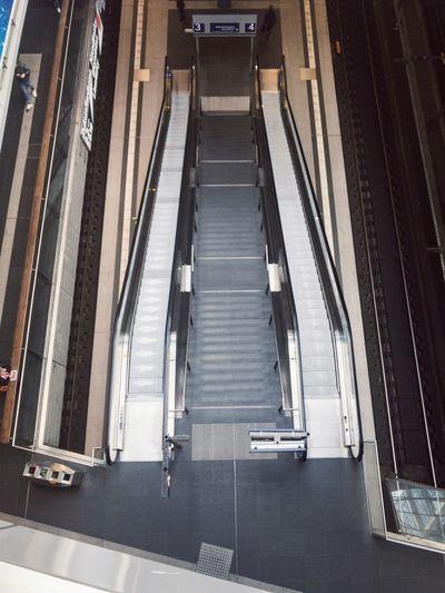 High angle view of escalator at railroad station
