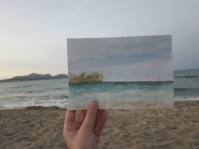 Beach Sea Water Sand Horizon Over Water Sky Nature Outdoors Beauty In Nature Wave Mypointofview Seaview Ocean Waves Canpicafort Mallorca Paintings Enjoying Life Having Fun Holidays Strand Aquarelle Aquarellpainting Watercolours Art Done That.