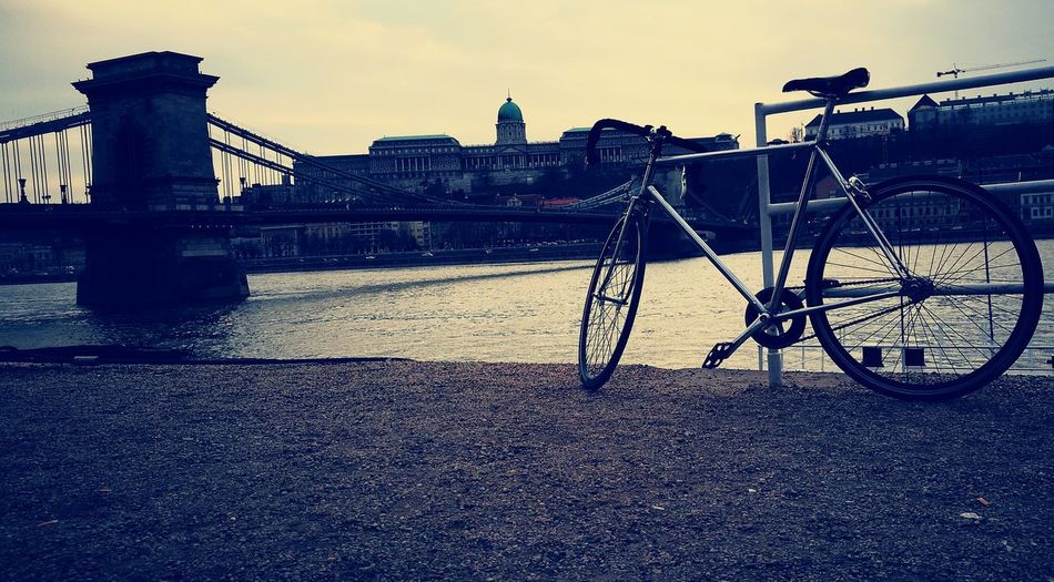 Architecture City Bridge - Man Made Structure Bicycle Budapest, Hungary Singlespeed Sky Outdoors First Eyeem Photo