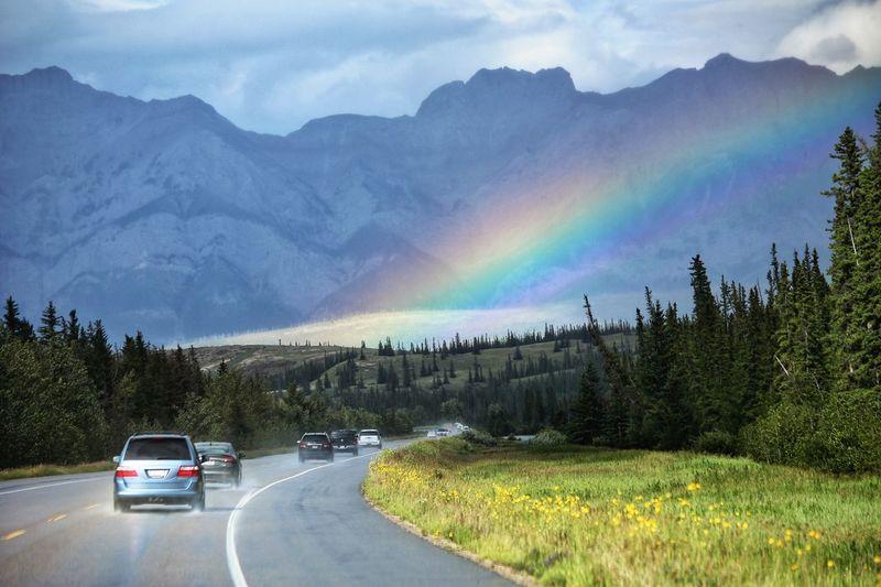Beautiful rainbow in Jasper National Park in Alberta, Canada. Rainbow Highway Roadtrip Cars Mountains Weather Nature Jaspernationalpark Canada Beautiful WOW Colour Of Life