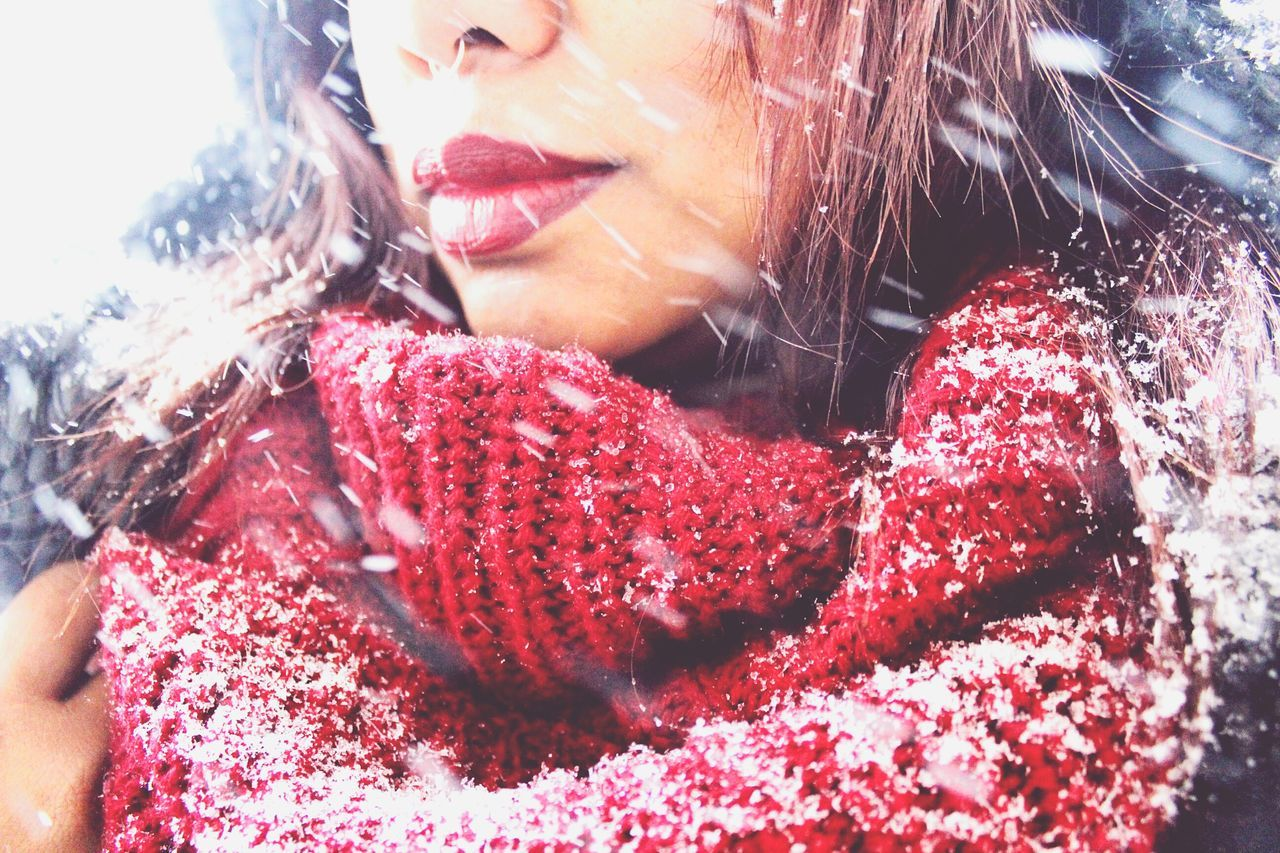 Close-up of beautiful woman during winter