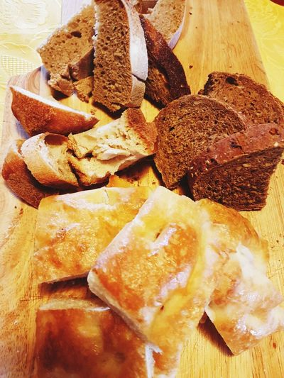 Bread Focaccia Food Table High Angle View Close-up Food And Drink Grain Baking Bread White Bread Bakery Whole Wheat Brown Bread