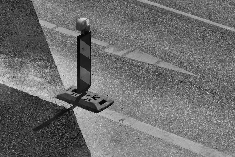 High angle view of reflector on road
