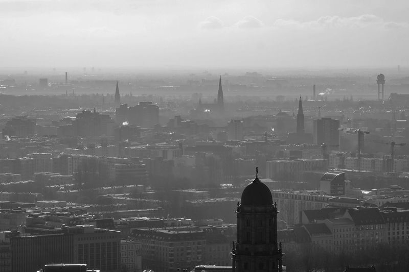 foggy panorama of Berlin Building Exterior Built Structure Architecture City Building Cityscape Sky Travel Destinations No People Nature Office Building Exterior Tower Residential District Fog Tall - High Skyscraper Outdoors Spire  Financial District  Berlin