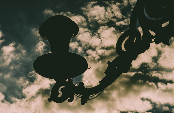 Lonely Lamp Childhood Close-up Cloud - Sky Day Hanging Lamp, Light Low Angle View No People Outdoors Preset Shadow Silhouette Sky