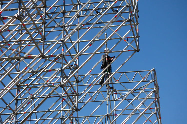 Architecture Blue Built Structure Clear Sky Construction Industry Construction Site Day Industry Low Angle View Metal Metalic Structure Nature Outdoors Pattern Sky Sunlight