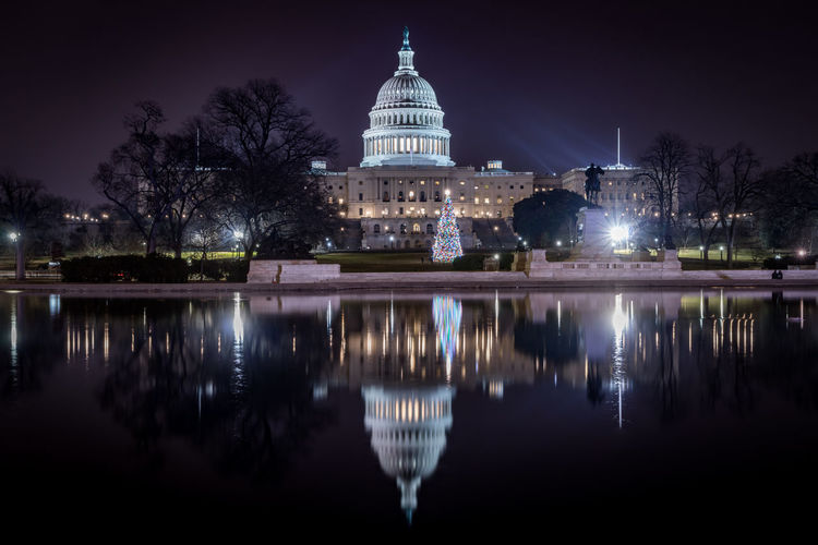 Reflection of united state capitol in water at night