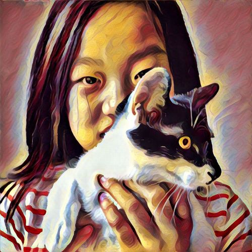 Cat Lovers Sweter Pink Pretty Girl Children Photography Girlfriend Kidsphotography Colorphotography Colour Of Life Everybodystreet Evrybody Street Faces Of EyeEm Faces Of The World I Like My City Eye4photography  Streetphotography I Love My City Mirrorless Pastel Prisma Art Prisma App