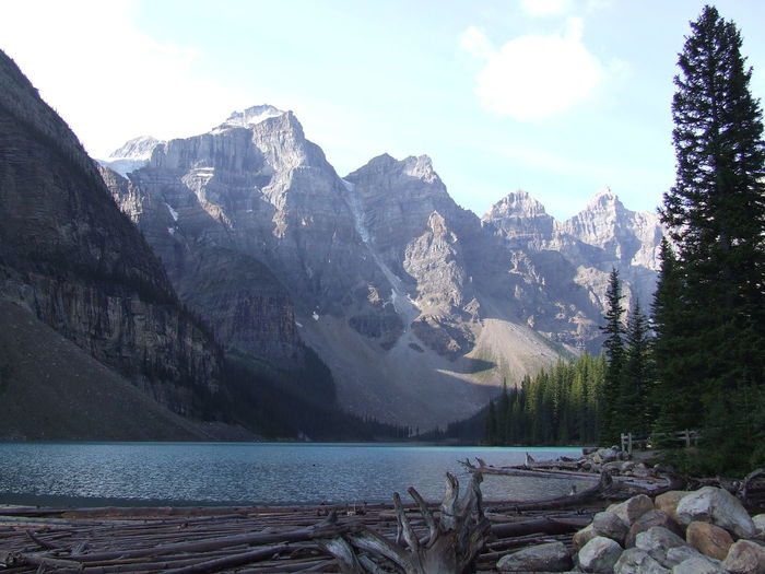 Beauty In Nature Cat Day Lake Landscape Moraine Lake  Mountain Mountain Range Nature No People Outdoors Range Scenery Scenics Sky Snow Tranquil Scene Tranquility Tree Water