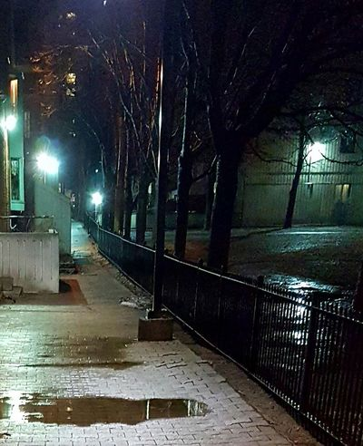 Walkway Street Lighting Puddle Of Rain Puddles Nightscape Light And Shadow, Urban Exploration, Street Light City Lights At Night