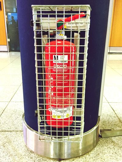 Red Indoors  Close-up Cage Caged fireextinguisher Lockend Up Protected
