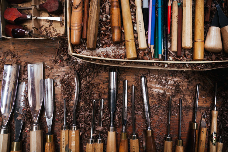 Bench Old Fashioned Wood Woodshop Workshop Carpenter Carving Chisel Close-up Craft Craftmanship Expertise Hand Tools Large Group Of Objects No People Overhead View Tools Variation Woodworking