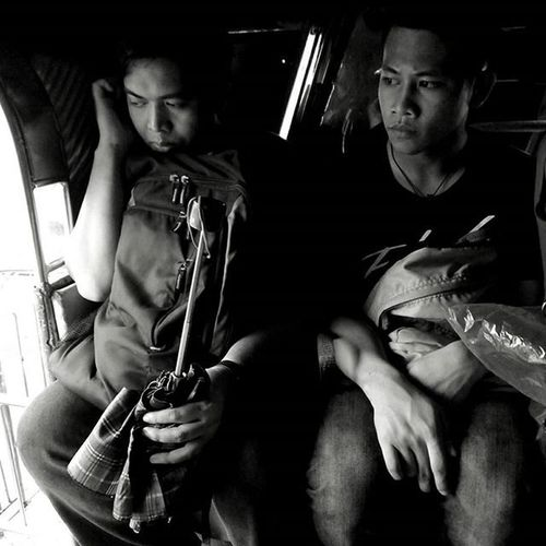 Jeepney passengers. People Passengers Jeepeney Ride Transportation Blackandwhite Monochrome Manila Emotions Philippines Eyeem Philippines Expressions Urban The Commute Everyday Emotions